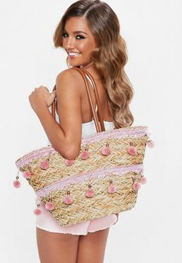 Pink Pom Pom And Tassel Wicker Shopper Bag