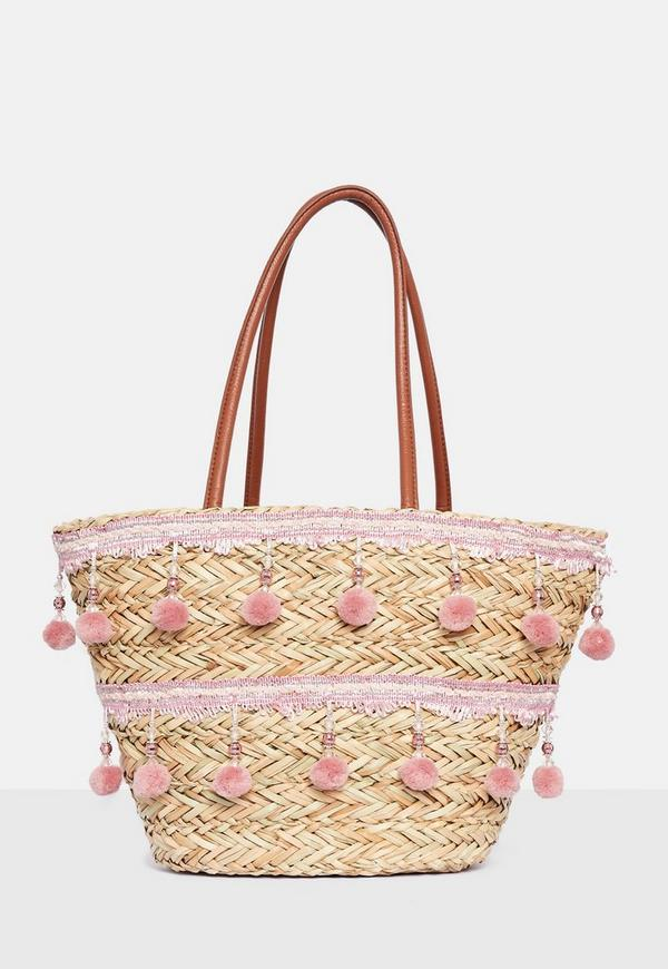 Pink Pom Pom And Tassel Wicker Shopper Bag by Missguided