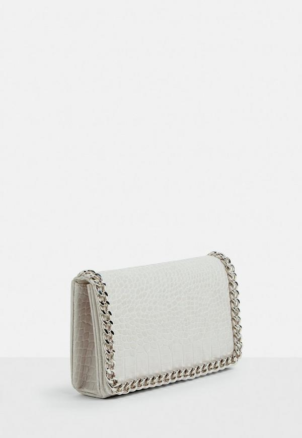 White Chain Trim Cross Body Bag by Missguided