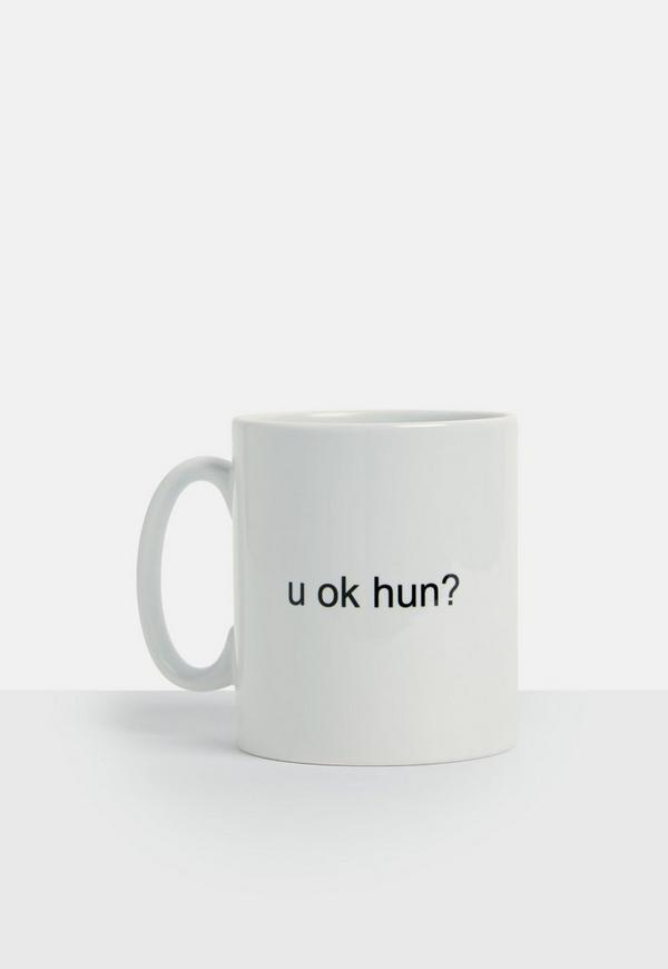 White 'you Ok Hun' Slogan Mug by Missguided