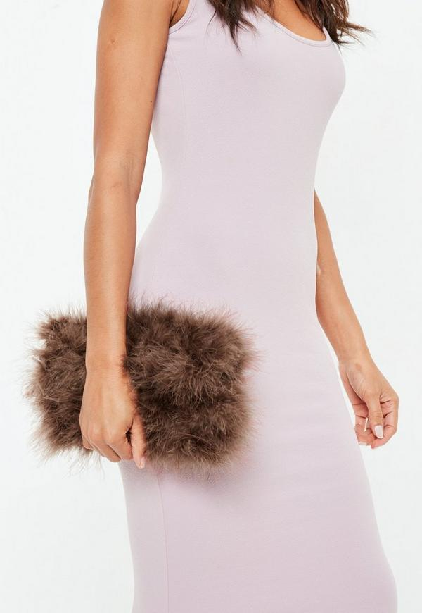 brown-fluffy-feather-clutch-bag by missguided 605322e1c179d