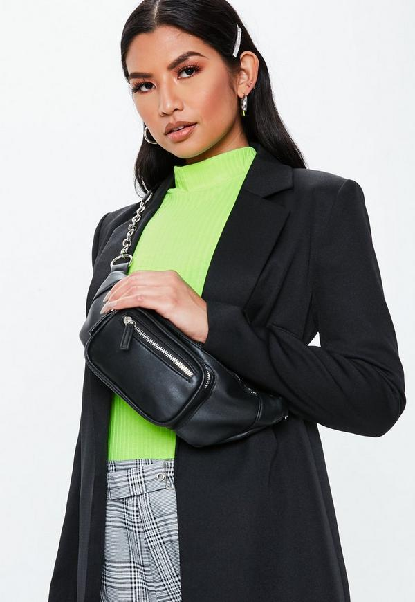 Black Chain Link Bumbag by Missguided