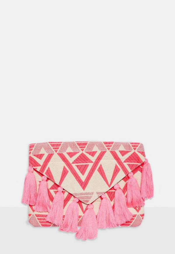 Pink Aztec Tassel Clutch Bag by Missguided