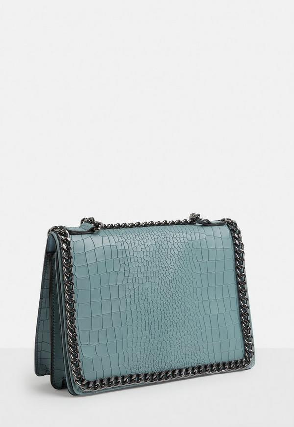 Blue Chain Trim Snake Skin Fold Over Cross Body Bag by Missguided