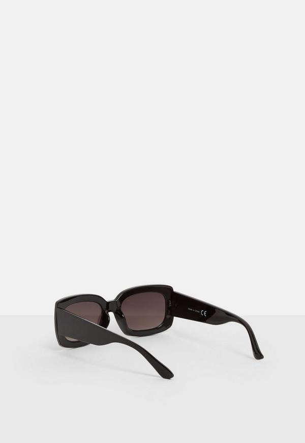 Black Thick Frame Square Sunglasses | Missguided