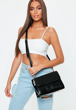 Black Patent Rectangular Cross Body Bag