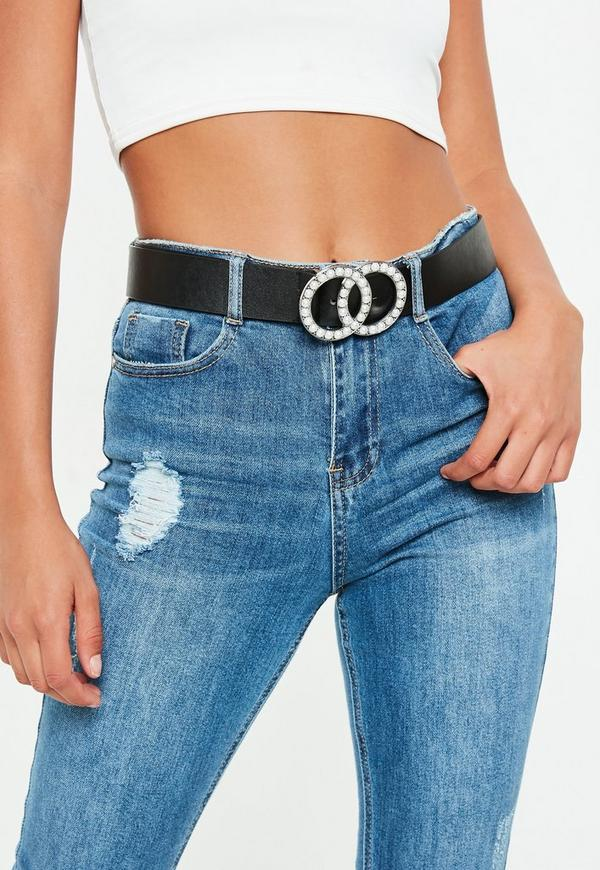 Black Double Circle Diamante Buckle Belt by Missguided