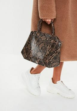 14087cd5e1 White Marble Effect Box Bag · Brown Snake Print Bag