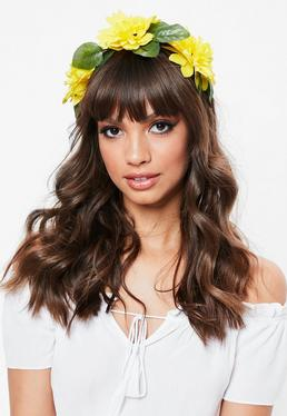 Floral headbands festival accessories missguided yellow floral headband mightylinksfo