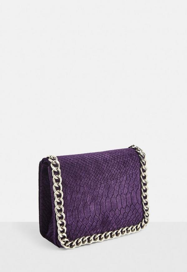 Samt Handtasche In Lila Missguided