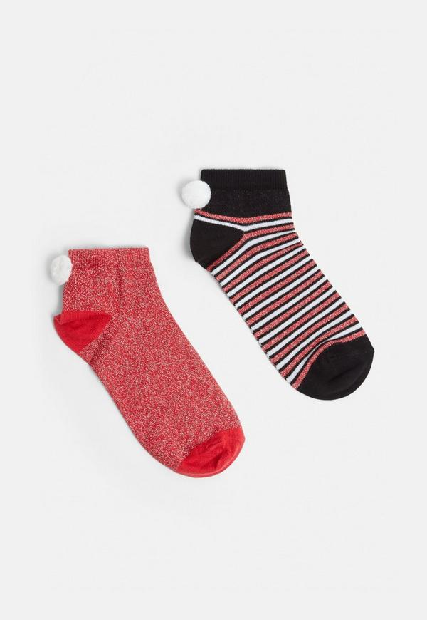 Red 2 Pack Christmas Bah Humbug Ankle Socks by Missguided