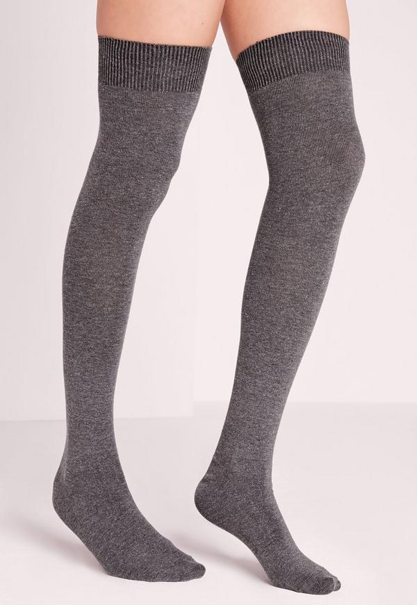 Phiphi Over Knee Socks Grey