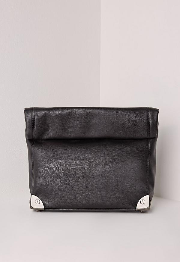Oversized Roll Top Clutch Bag  Black