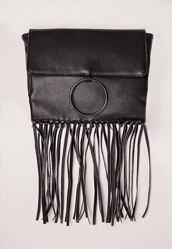 Circle Fringe Cross Body Bag Black