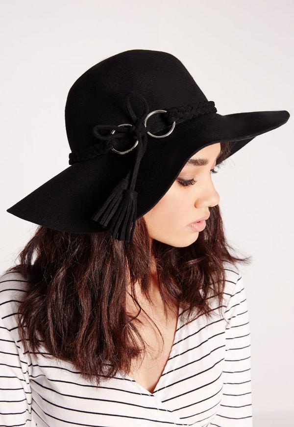 Eyelet Tassel Floppy Hat Black