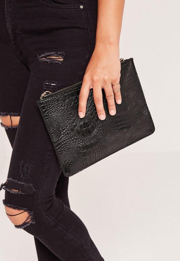 Zip Top Croc Clutch Bag Black