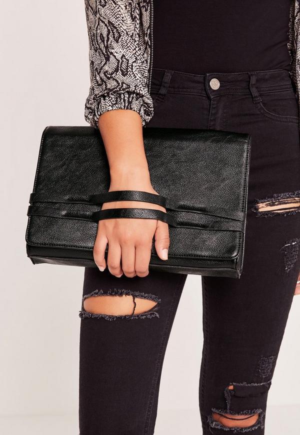 Grab Strap Clutch Bag Black