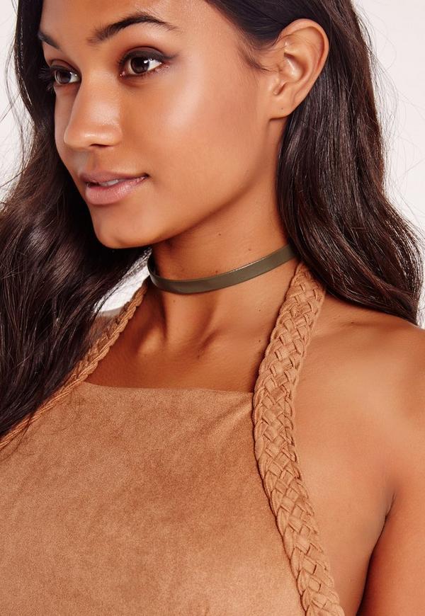 Faux Leather Choker Necklace Khaki