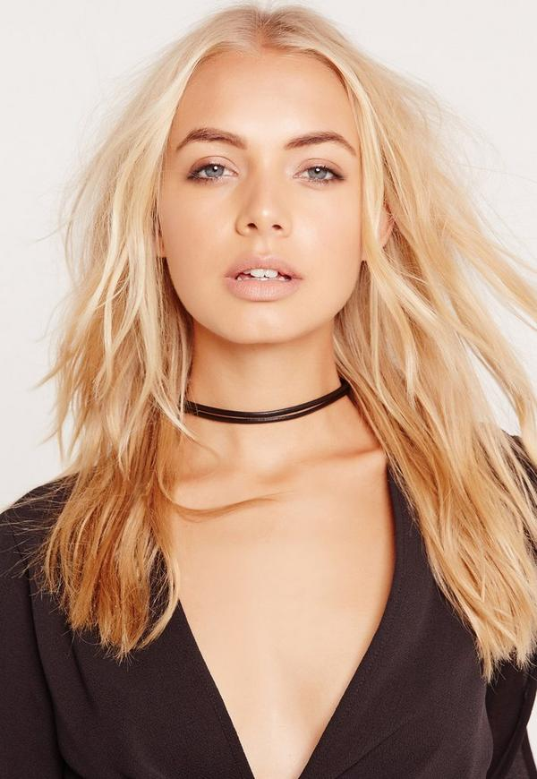 Double Layer Faux Leather Choker Necklace Black