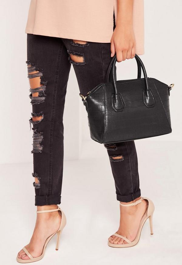 Mini Winged Croc Tote Bag Black