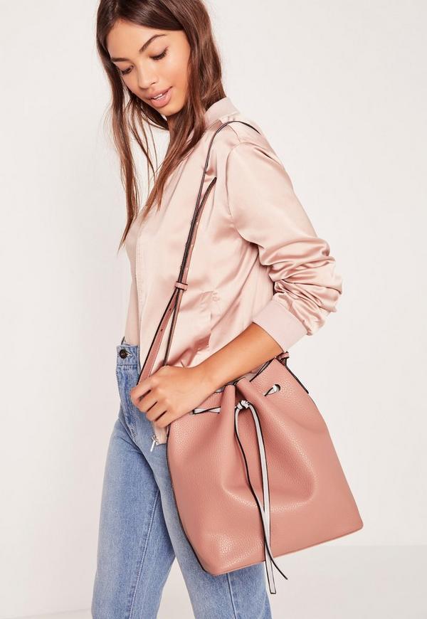 Drawstring Bucket Bag Blush Pink