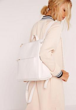 minimal clean line Backpack white