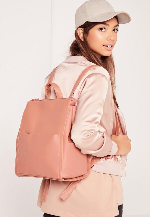 Minimal Clean Line Rucksack Blush Pink