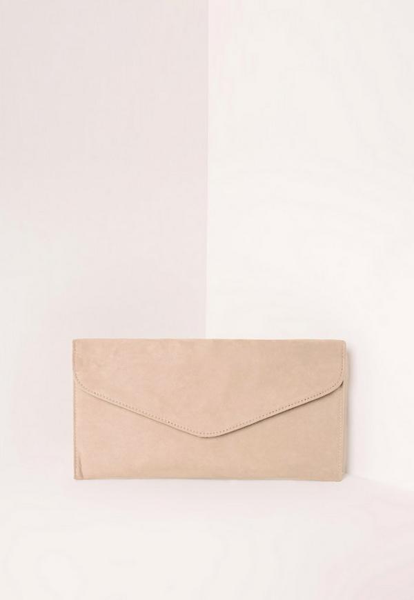 Faux Suede Envelope Clutch Bag Nude