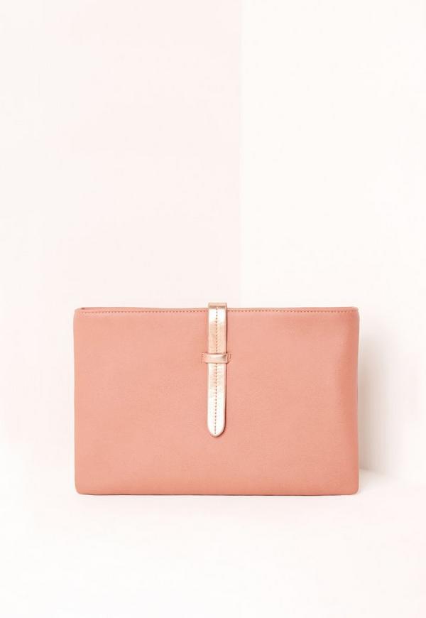Pink Metallic Strap Clutch Bag