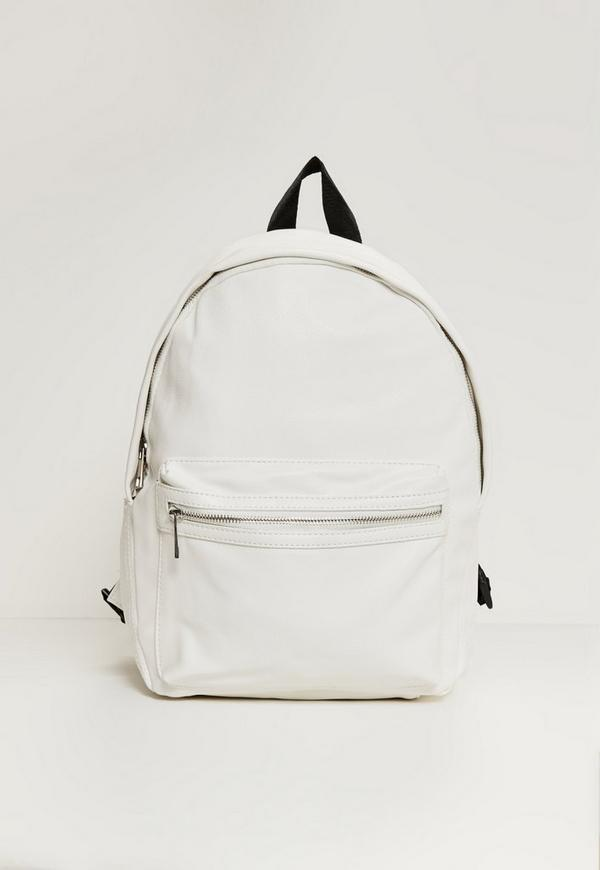White Faux Leather Sport Backpack