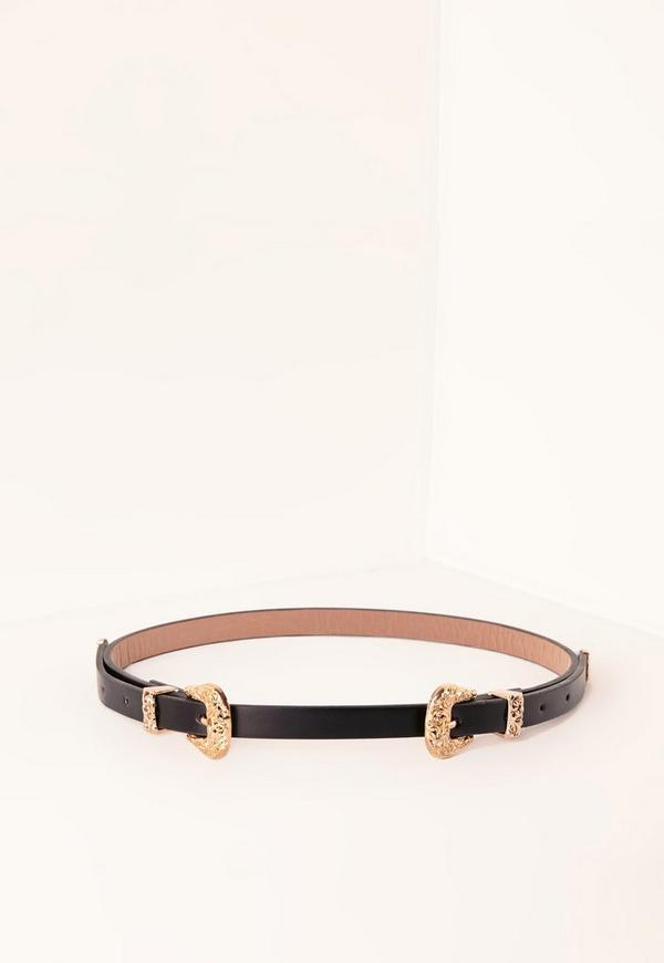 Gold Double Buckle Western Belt Black