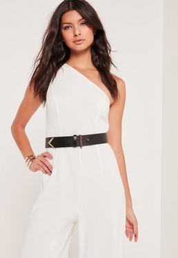 Minimal Arrow Tip Waist Belt Black