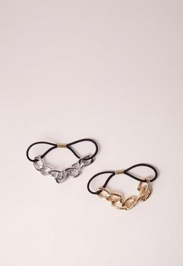 Gold & Silver 2 Pack Chain Detail Hair Ties