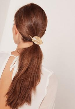 leaf detail hair tie bobble gold
