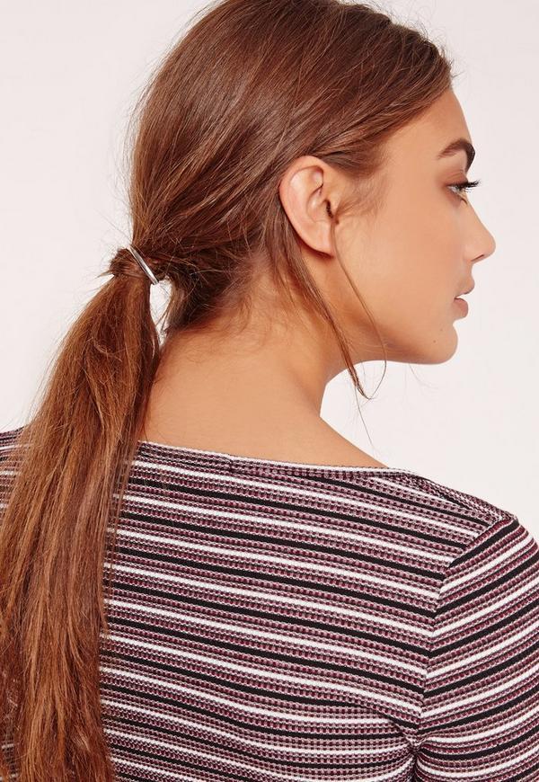 Metal Detail Hair Tie Silver