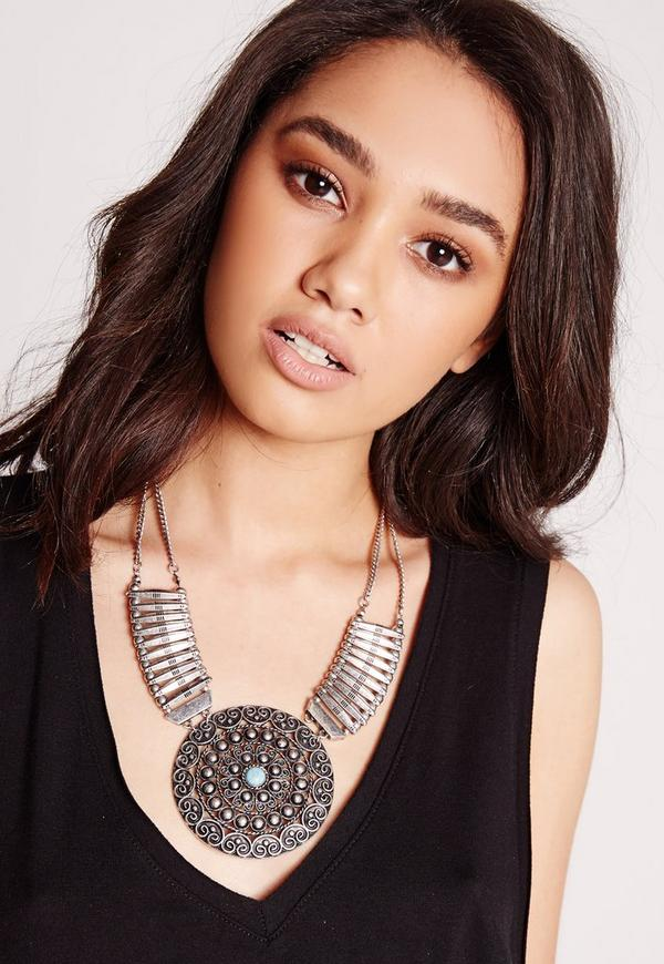 Statement Ethnic Disk Necklace