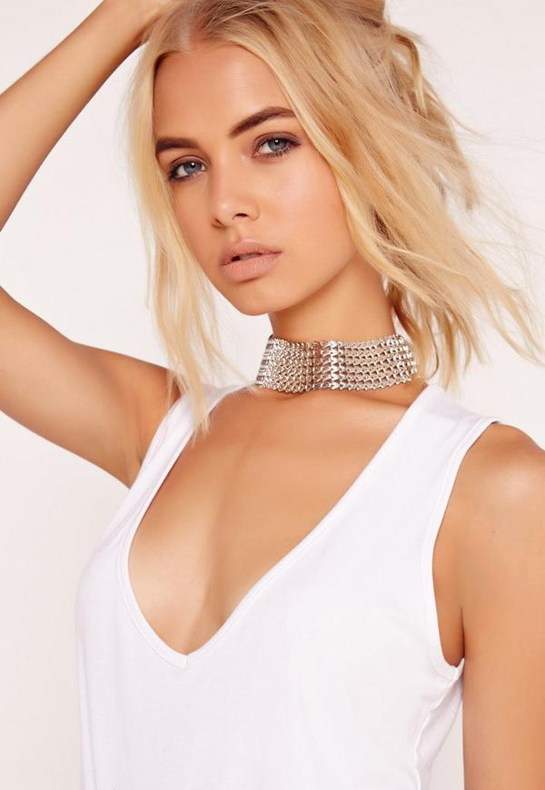 Wide Chain Detail Choker Necklace Silver