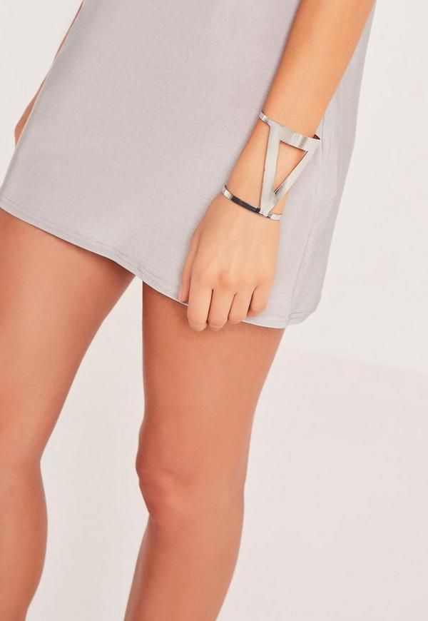 Triangle Cut Out Cuff Silver