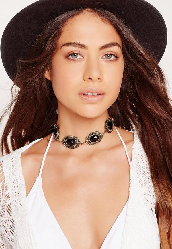 concho detail choker necklace gold