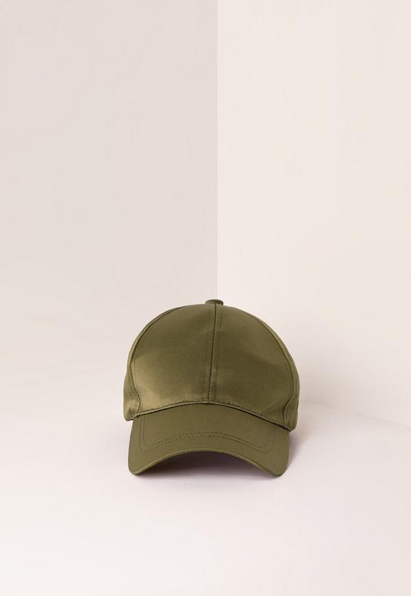 Khaki Satin Baseball Cap