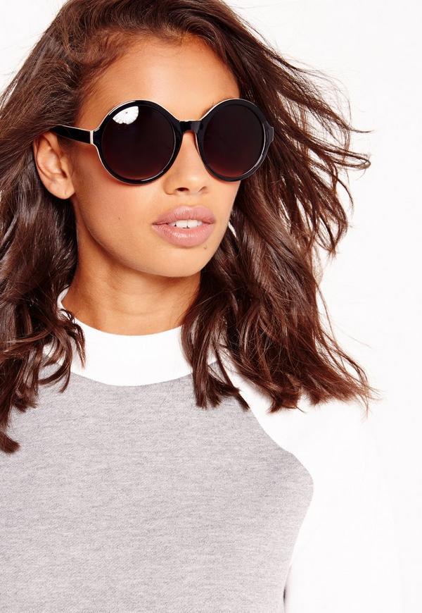 Contrast Lens Round Frame Sunglasses Black