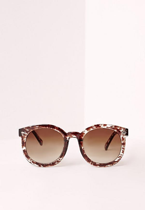 Square Frame Tortoise Shell Sunglasses Brown