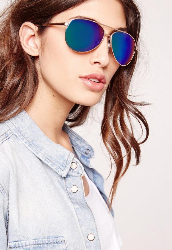 Mirrored Aviator Sunglasses Green
