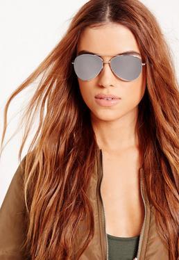 Mirrored Aviator Sunglasses Silver