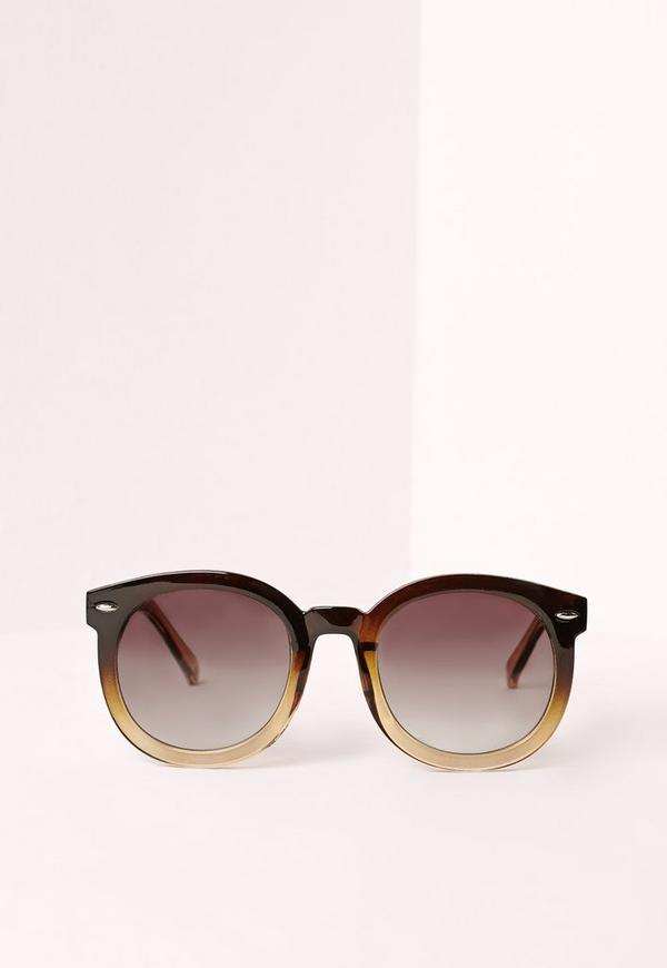 Round Ombre Frame Sunglasses Brown