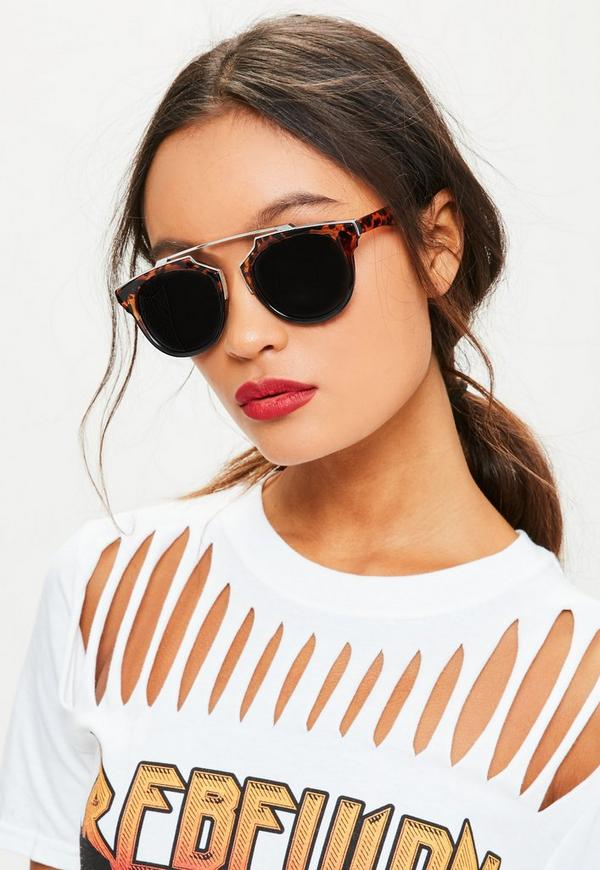 Metal Frame Tortoise Shell Sunglasses Brown