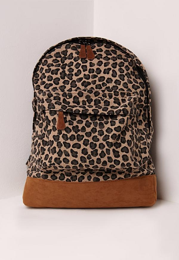 Leopard Print Backpack Brown