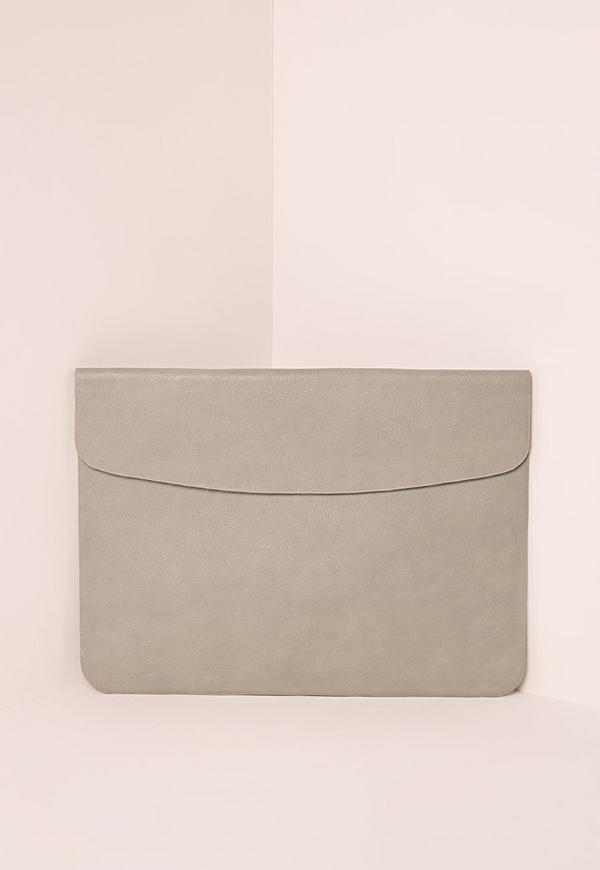 Round Edge Envelope Clutch Bag Grey