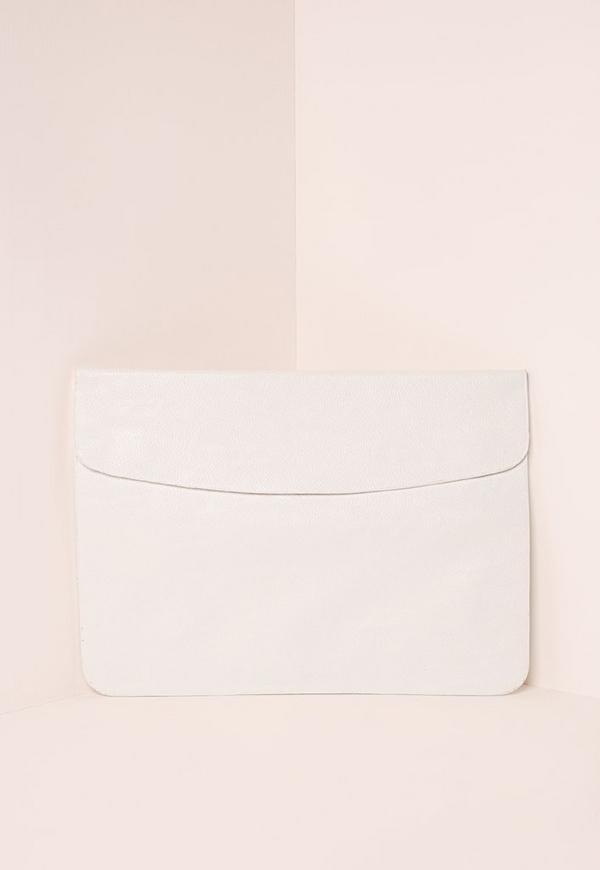 Round Edge Envelope Clutch Bag White