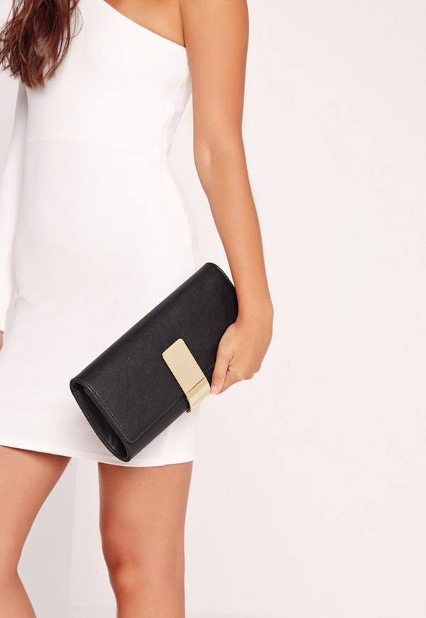 Gold Plate Detail Clutch Bag Black